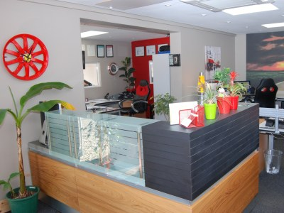 The new reception area, managed by Jay Nolloth